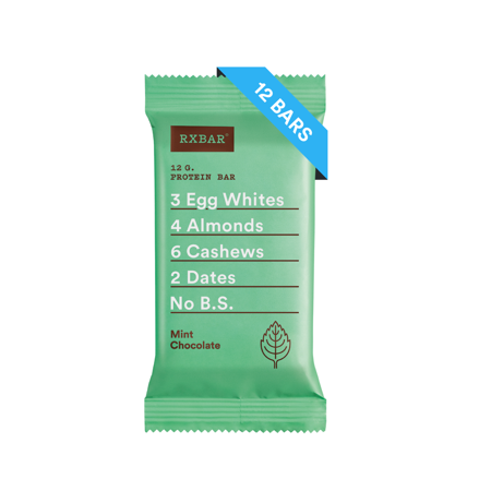 RXBAR Mint Chocolate Whole Food Protein Bars, Gluten Free, 12 (Best Healthy Snacks For Work)