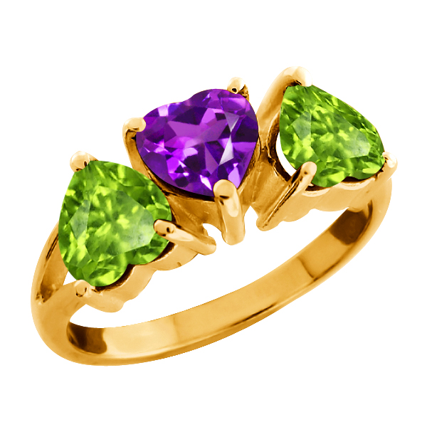 2.40 Ct Heart Shape Purple Amethyst and Peridot Gold Plated Silver 3-Stone Ring