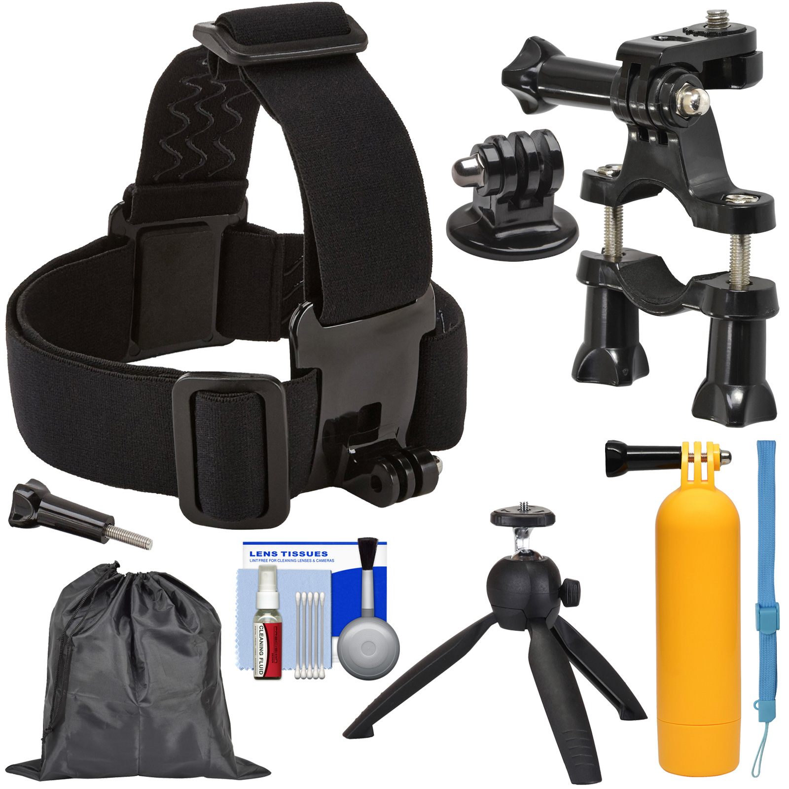 Sunpak Action Camera Head Strap Mount with Bike Handlebar Mount + Buoy Hand Grip + Wrist Strap + Tripod + Adapter + Pouch + Kit