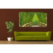 Startonight 3D Mural Wall Art Photo Decor Green Bamboo Bridge Amazing Dual View Surprise Medium Wall Mural Wallpaper for Bedroom Nature Wall Paper Art Gift 47.24 ?? By 86.61 ??