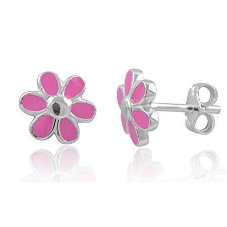 8 Mm Daisy - Sterling Silver Pink Daisy Flower Stud Earrings - 8mm