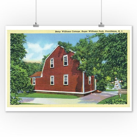 Park Cottages - Providence, Rhode Island - Roger Williams Park View of Betsy Williams Cottage (9x12 Art Print, Wall Decor Travel Poster)