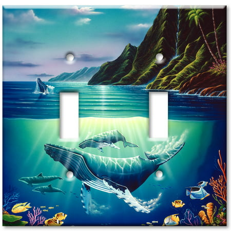 Double Gang Toggle OVERSIZE Wall Plate - Whales (Double Gang Coax Wall Plate)