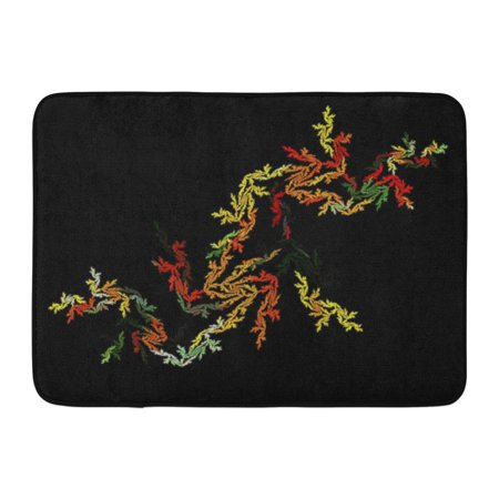 GODPOK Curve Black Artistic Abstract Beautiful Beauty Blend Bright Color Diamond Rug Doormat Bath Mat 23.6x15.7 inch
