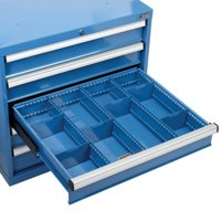 "Divider Kit for 5""or 6""H Drawer of Modular Drawer Cabinet, 3 Long & 6 Short , Blue"