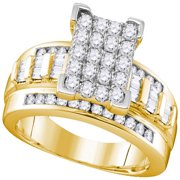10kt Yellow Gold Womens Round Diamond Rectangle Cluster Bridal Wedding Engagement Ring 7 8 Cttw - Si
