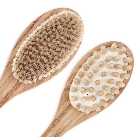 "Wooden Body Brush Bath Brush for Back Scrubber - Natural Bristles Shower Brush Long Handle 13.7"" - Excellent ..."