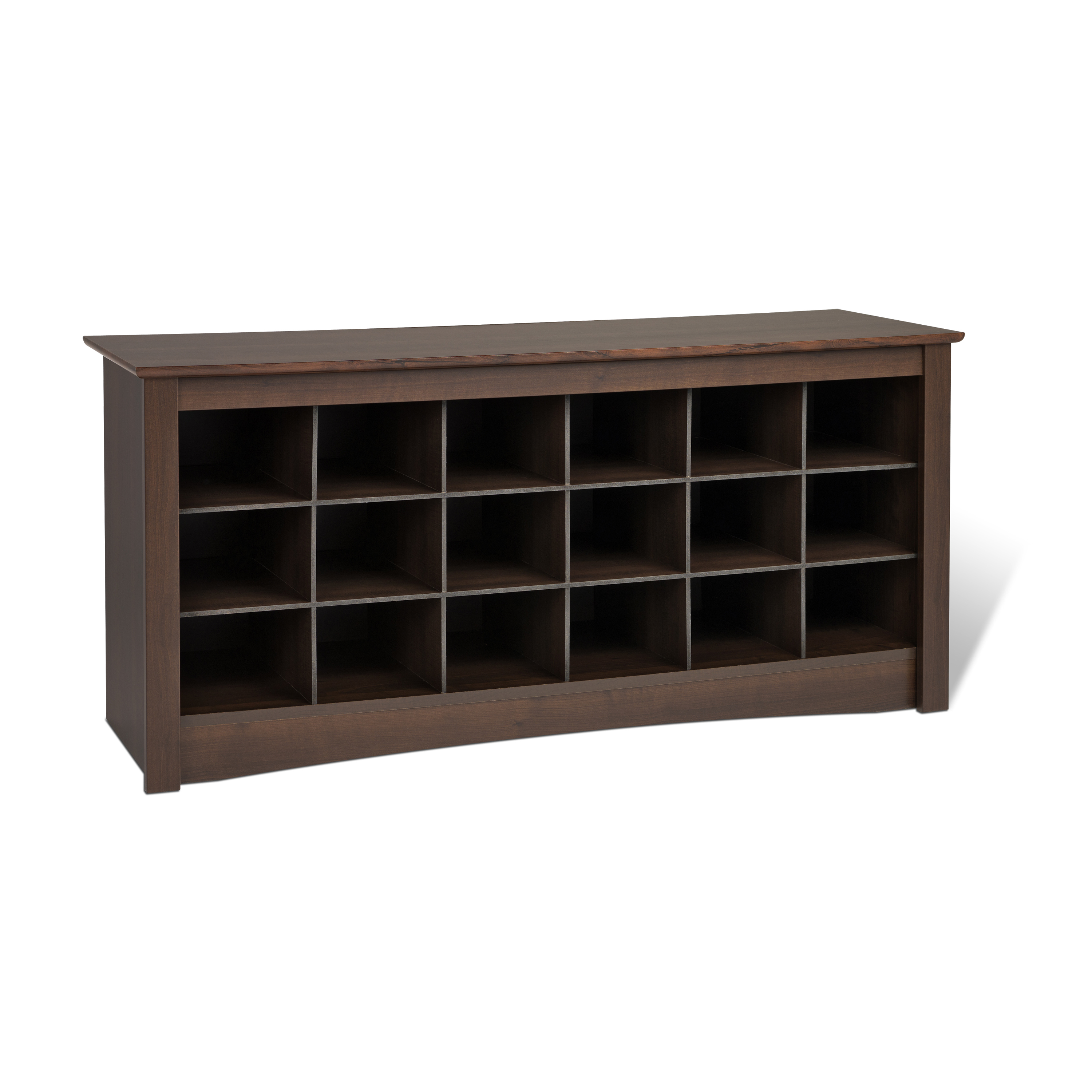 Prepac 18 Pair Entryway Shoe Storage Cubby Bench, Multiple Finishes