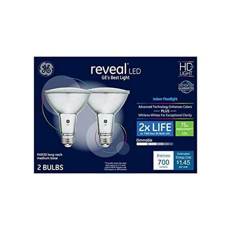 GE Reveal 2-Pack 75 W Equivalent Dimmable Flood Color-Enhancing Par30 Longneck LED Light Fixture Light Bulbs