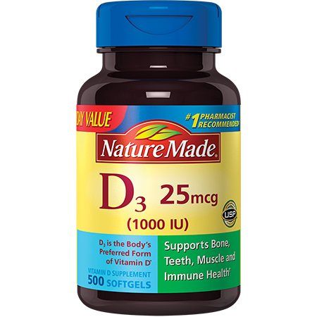 Nature Made Vitamin D3 25mcg/1000IU Softgels Value Size,