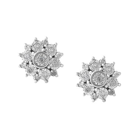 Sterling Silver 1/6 CTTW Diamond Cluster Earring