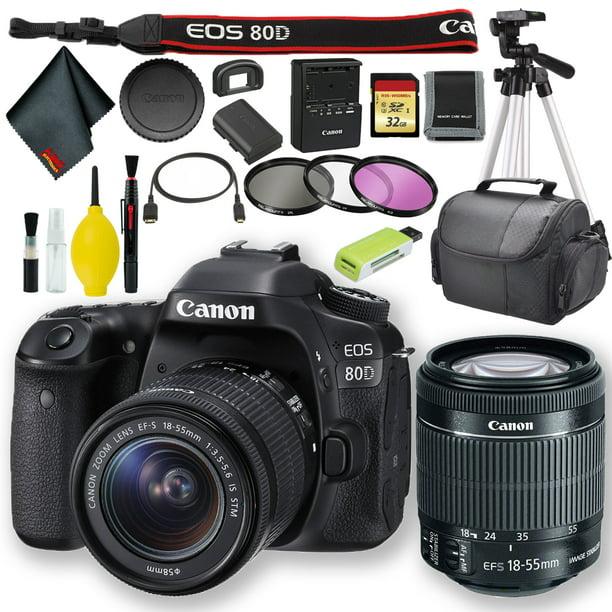 Canon EOS 80D DSLR Camera with 18-55mm Lens (International Model) + 32GB Memory Bundle
