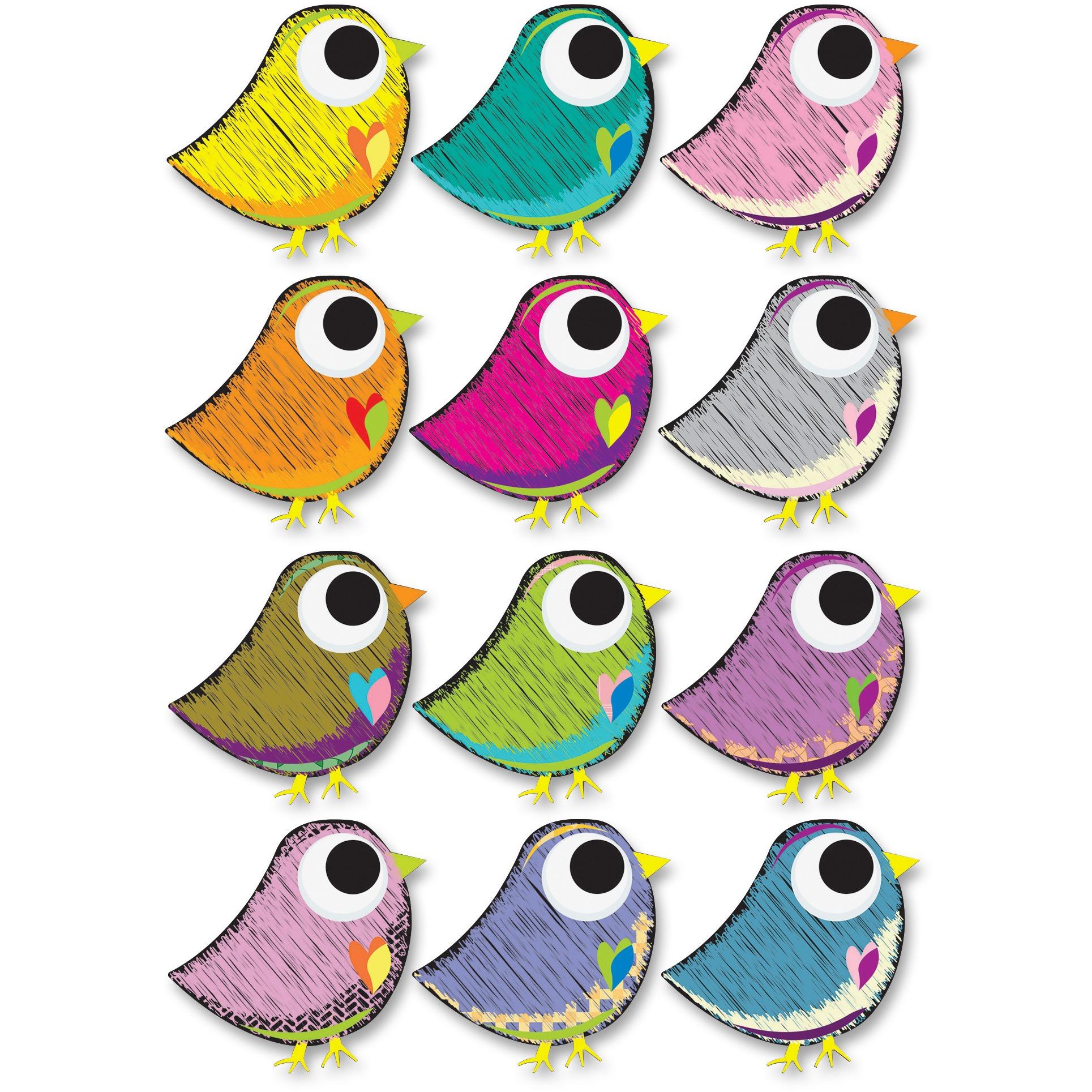 Ashley, ASH10084, Scribble Bird Design Dry Erase Magnet, 1 Set, Multicolor