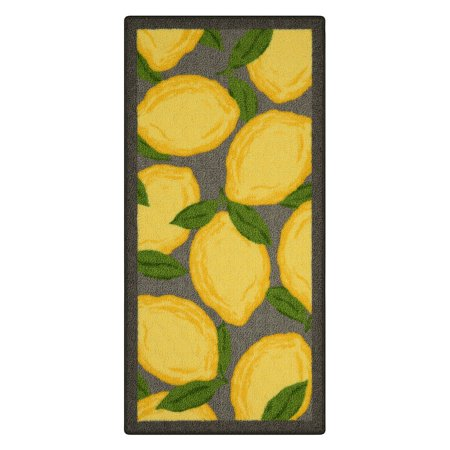 Better Homes & Gardens Yellow LemonsLoop Print Kitchen Rugs