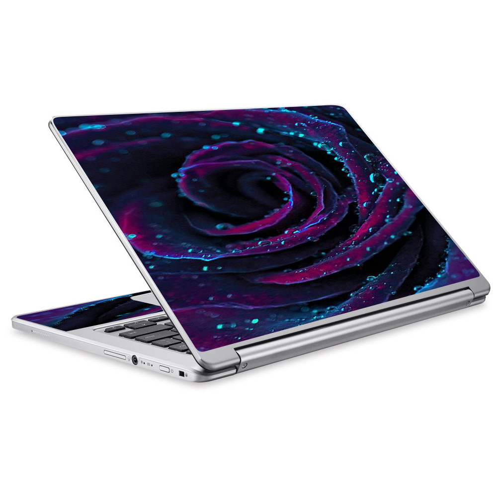 Skins Decals For Acer Chromebook R13 Laptop Vinyl Wrap / Purple Rose Pedals Water Drops