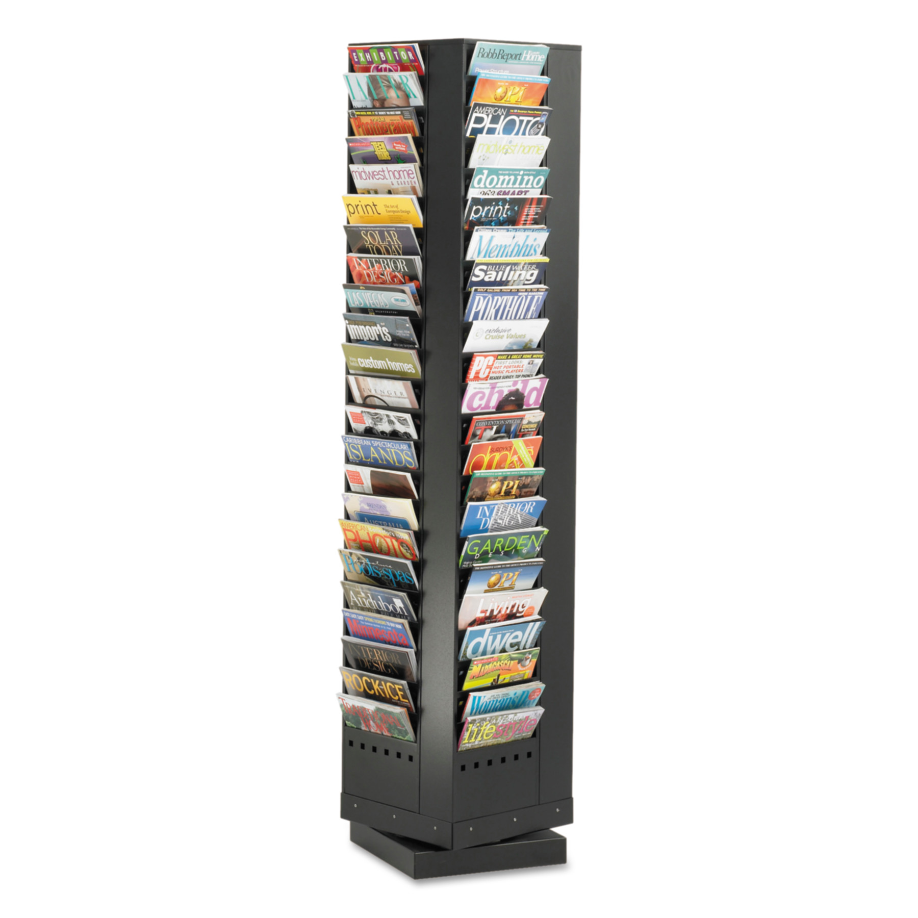 Safco Steel Rotary Magazine Rack, 92 Compartments, 14w x 14d x 68h, Black by Safco Products