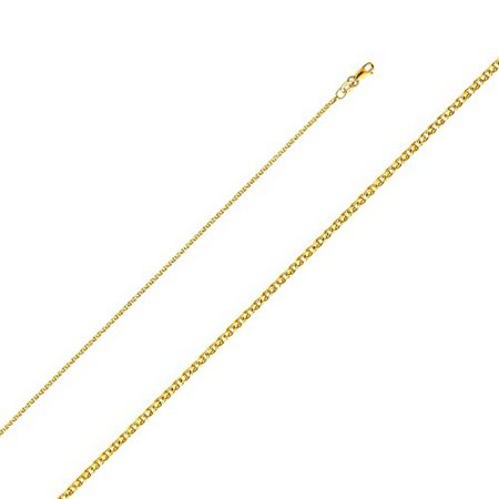 - 14K Yellow Gold Men Women's 1.4MM Flat Open Wheat Chain Lobster Clasp (24)