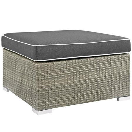 Modern Contemporary Urban Design Outdoor Patio Balcony Garden Furniture Lounge Chair Ottoman, Sunbrella Rattan Wicker, Dark Grey Gray ()