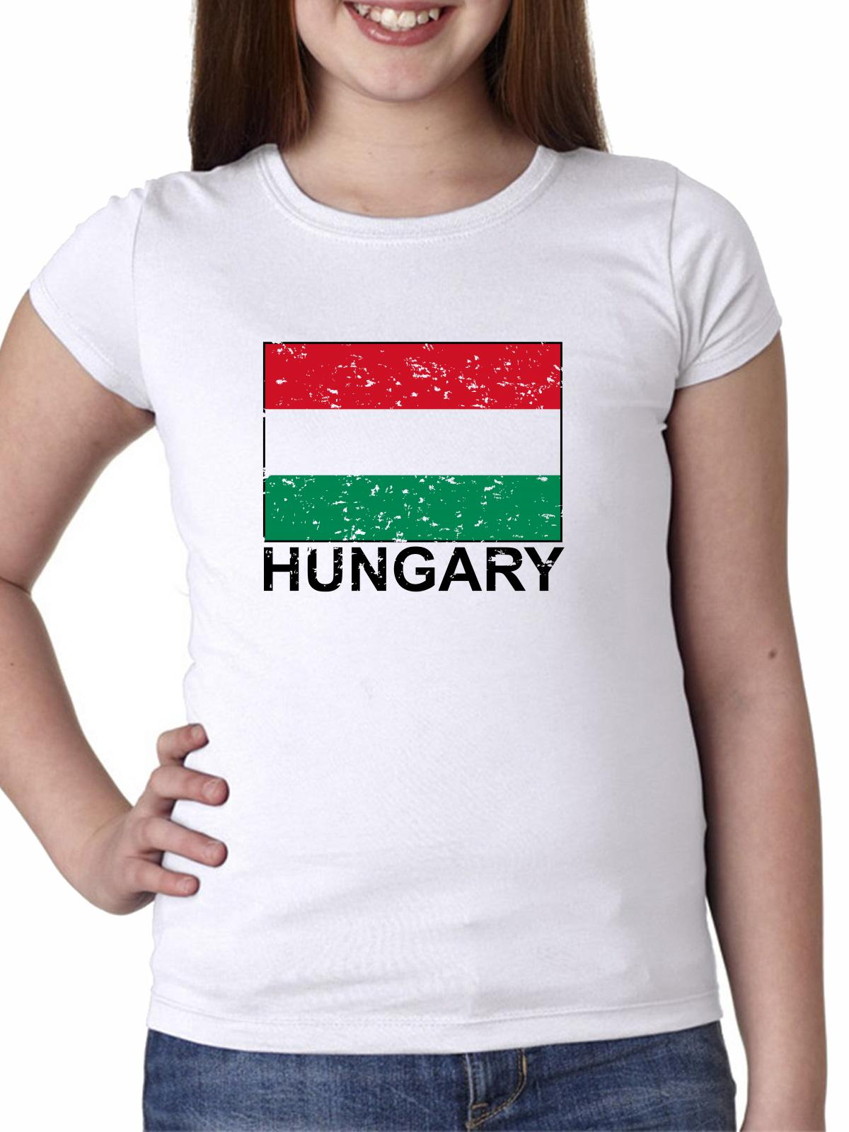 Hungary Flag - Special Vintage Edition Girl's Cotton Youth T-Shirt