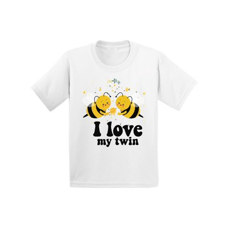 Twin Girls Gift - Awkward Styles Twin Youth Shirt Twins Birthday Party Cute Bee Twins Tshirts for Boys Cute Bee Twins Tshirts for Girls Funny Twins Gifts I Love My Twin T shirt for Kids Themed Party Outfit for Twins