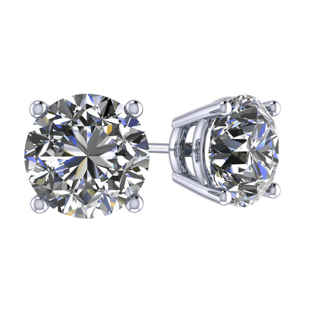 0.30cttw Swarovski Zirconia Round CZ Solitaire Stud Earrings Sterling Silver & Hypoallergenic Stainless Steel Post White Gold Plated