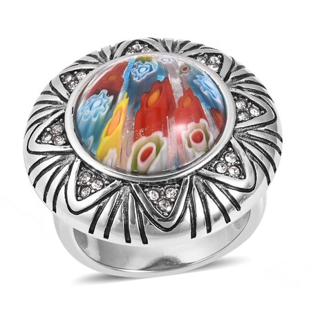 Multi Color Millefiori Glass Cocktail Ring Stainless Steel Round Glass Jewelry for Women
