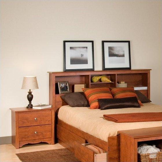 Prepac Monterey Cherry Double or Queen Bookcase Headboard 2 Piece ...