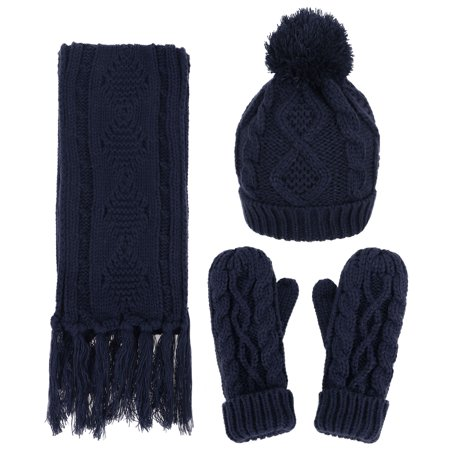 Andorra   3 In 1   Soft Warm Thick Cable Knitted Hat Scarf   Gloves Winter Set Navy