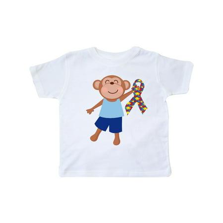 Autism Boy Monkey Puzzle Ribbon Awareness Toddler T-Shirt](Monkey Boy Graphics)