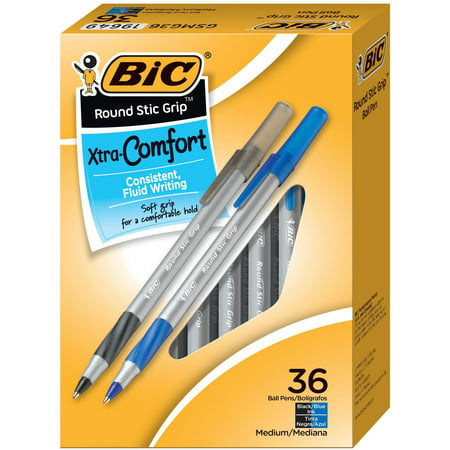 BIC Round Stic Grip Xtra Comfort Ballpoint Pen, Black/Blue, 1.2mm, Medium, 36/Pack ()