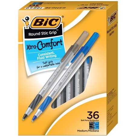 BIC Round Stic Grip Xtra Comfort Ballpoint Pen, Black/Blue, 1.2mm, Medium,