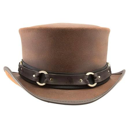 3e4561a0c27e New American Hat Makers El Dorado-Sr2 Band Leather Top Hat - Walmart.com