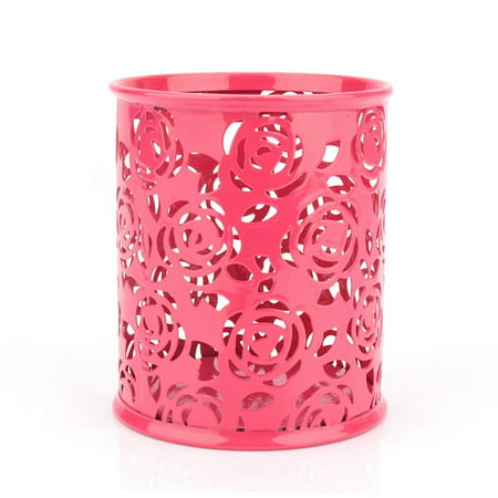 Yosoo Pen Holder Container,Office Desk Hollow Rose Flower Pattern Pen Pencil Pot Holder Container Organizer(Red) ()