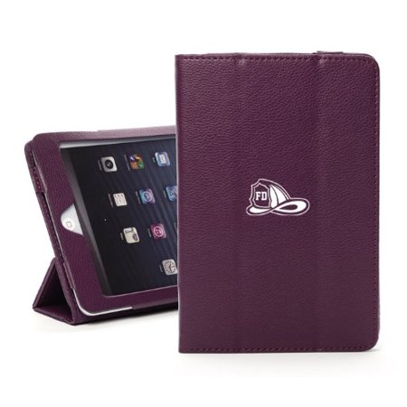 For Apple iPad Mini 4 Purple Leather Magnetic Smart Case Cover Stand Firefighter (Best Leather Fire Helmet)