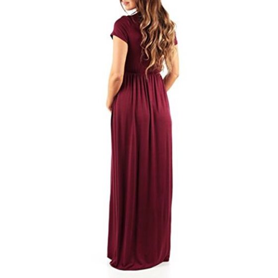 8eba034bde60c Sexy Dance - Maternity Dress Women Pregnant Solid Short Sleeve V Neck Long  Maxi Pregnant Dress Casual Loose Photography Prop Clothes - Walmart.com