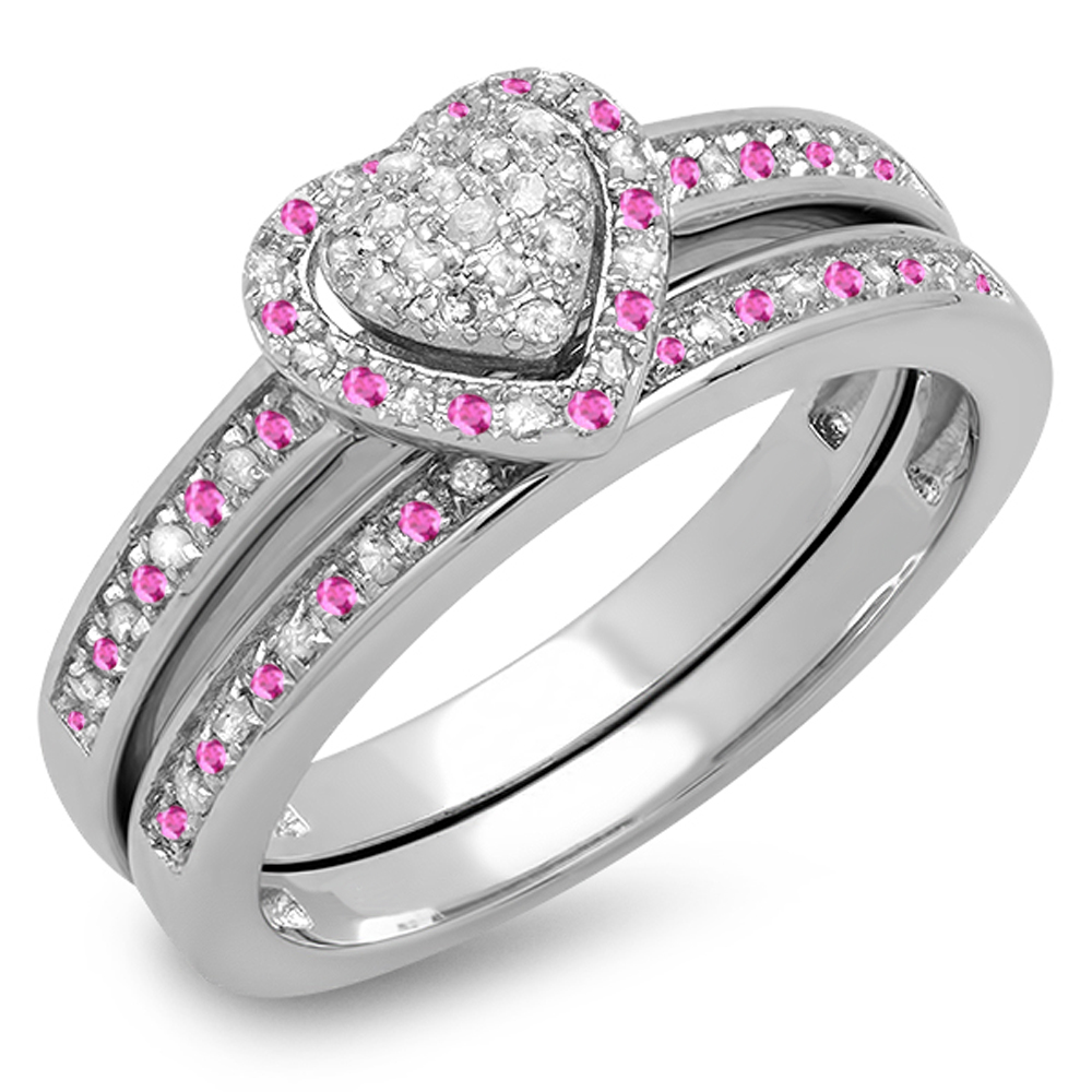 Sterling Silver Round Pink Sapphire & White Diamond Ladies Heart Shaped Bridal Engagement Ring Set by DazzlingRock