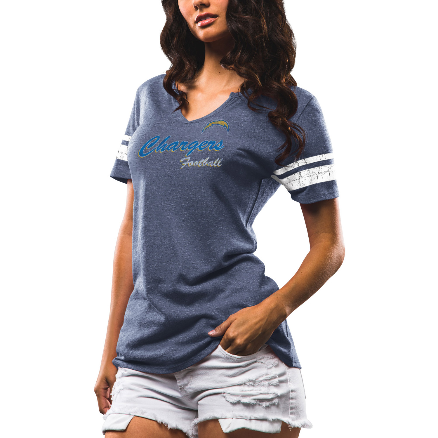 Los Angeles Chargers Majestic Women's Game Tradition Tri-Blend V-Neck T-Shirt - Navy - L