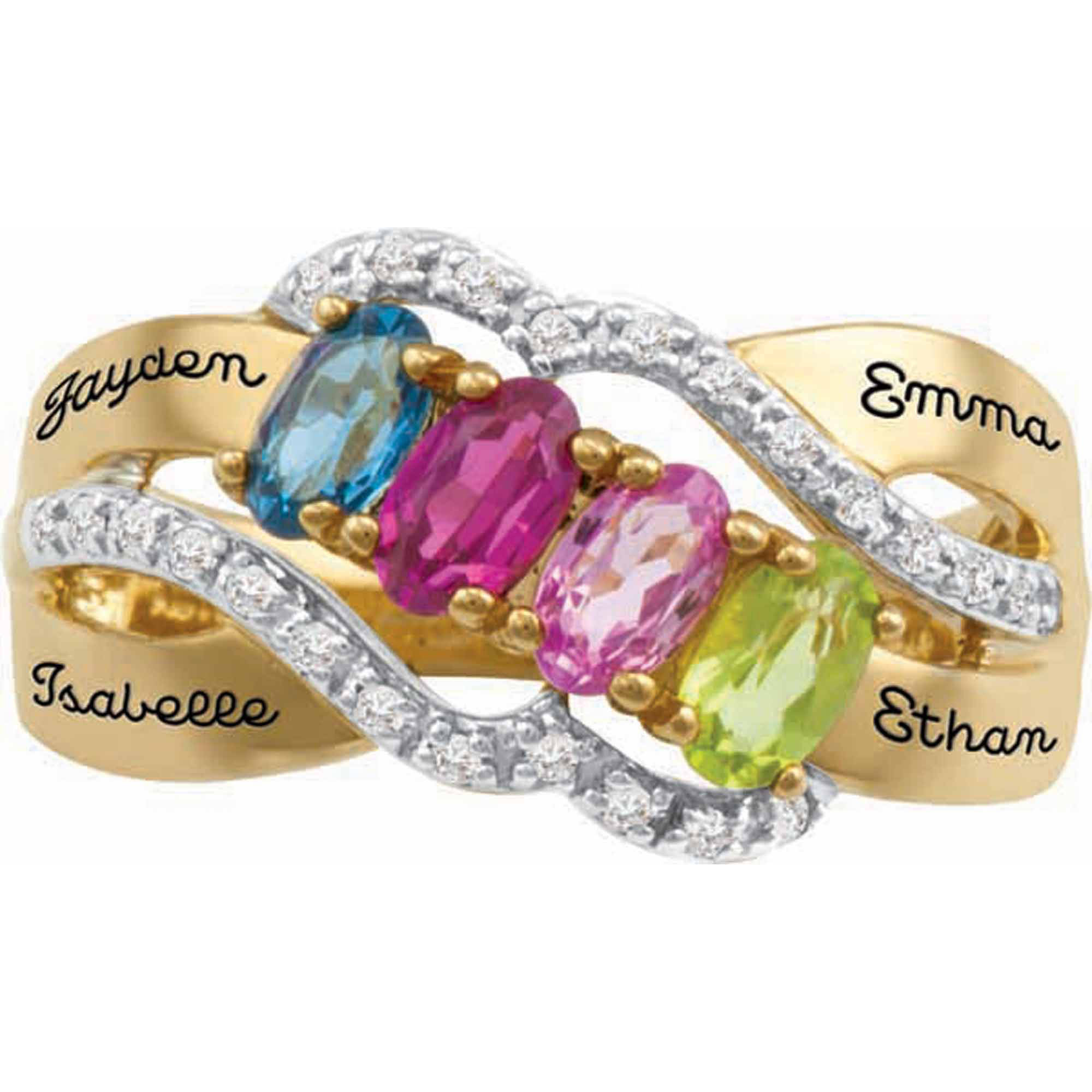 Personalized Family JewelryáBirthstone Fondness Mother's Ring available in Sterling Silver, Gold and White Gold