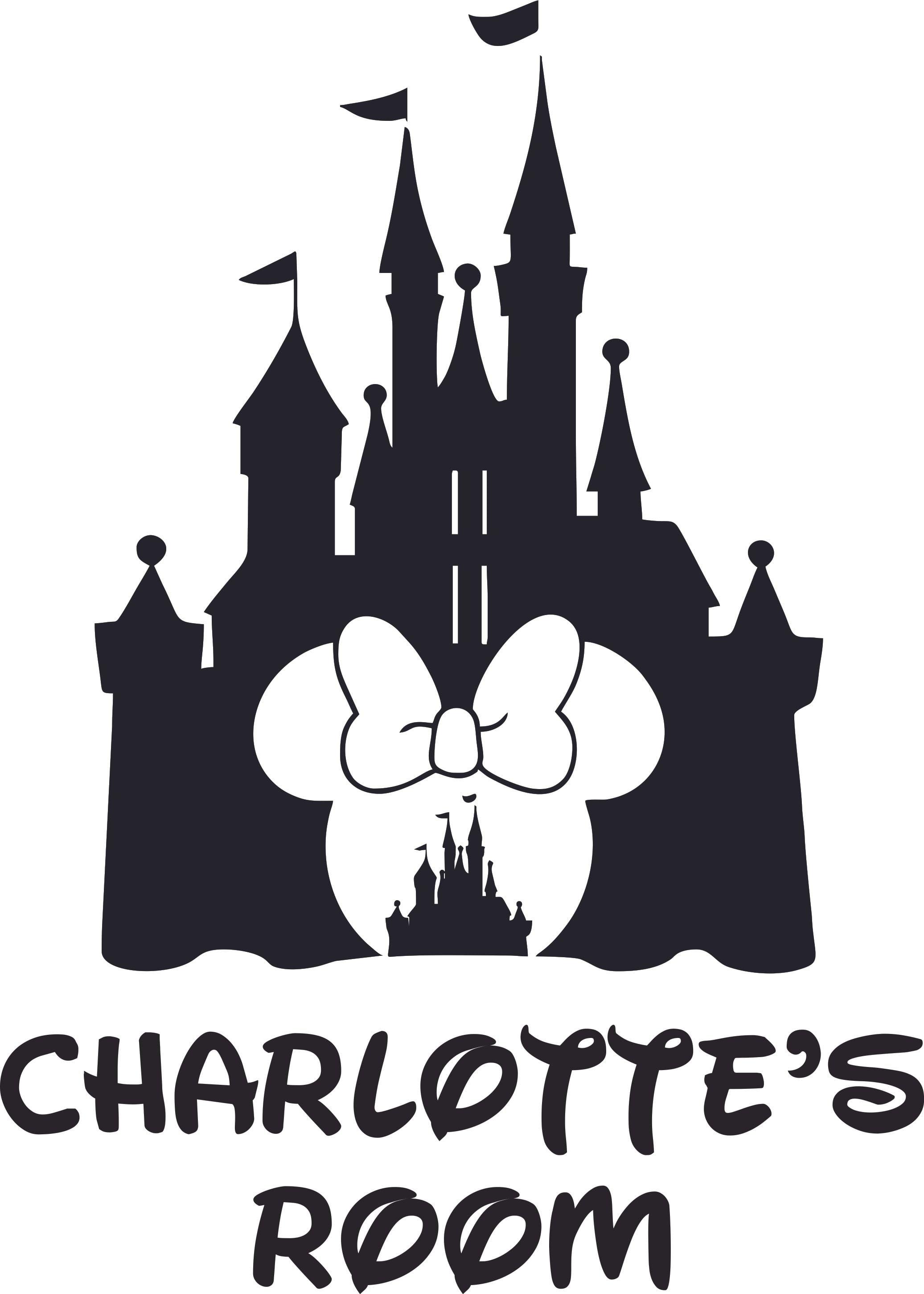 Bedroom 10x10 Size: Disney Castle Minnie Cartoon Design Customized Name Wall