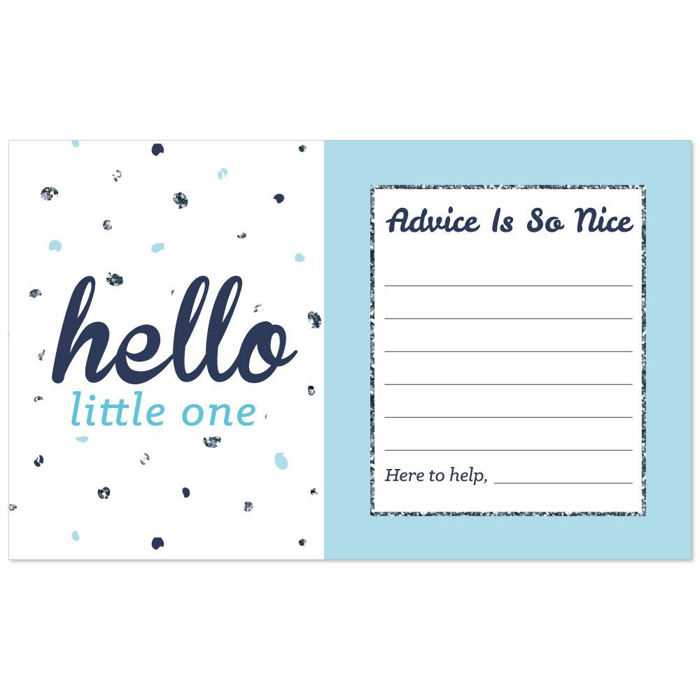 Hello Little One - Blue and Silver - Boy Baby Shower Advice Cards - 18 Count