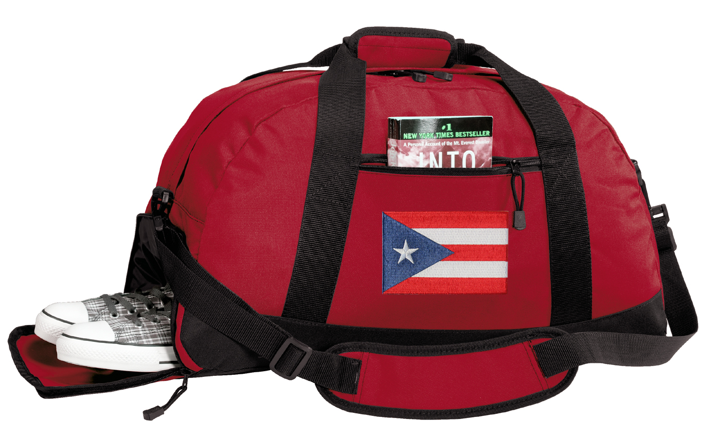 Puerto Rican Flag Gym Bags Puerto Rico Duffle Bag WITH SHOE POCKET! by