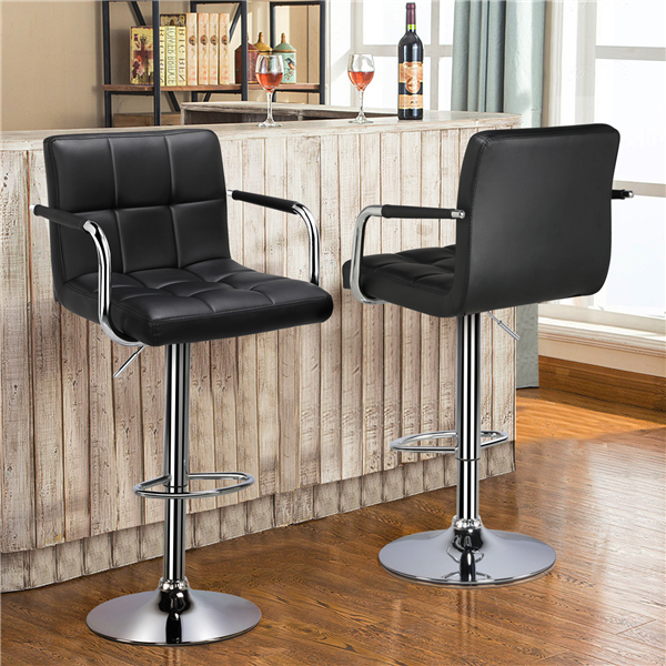 Outstanding Bar Stools Set Of 2 Black Adjustable Counter Stools Bar Gmtry Best Dining Table And Chair Ideas Images Gmtryco