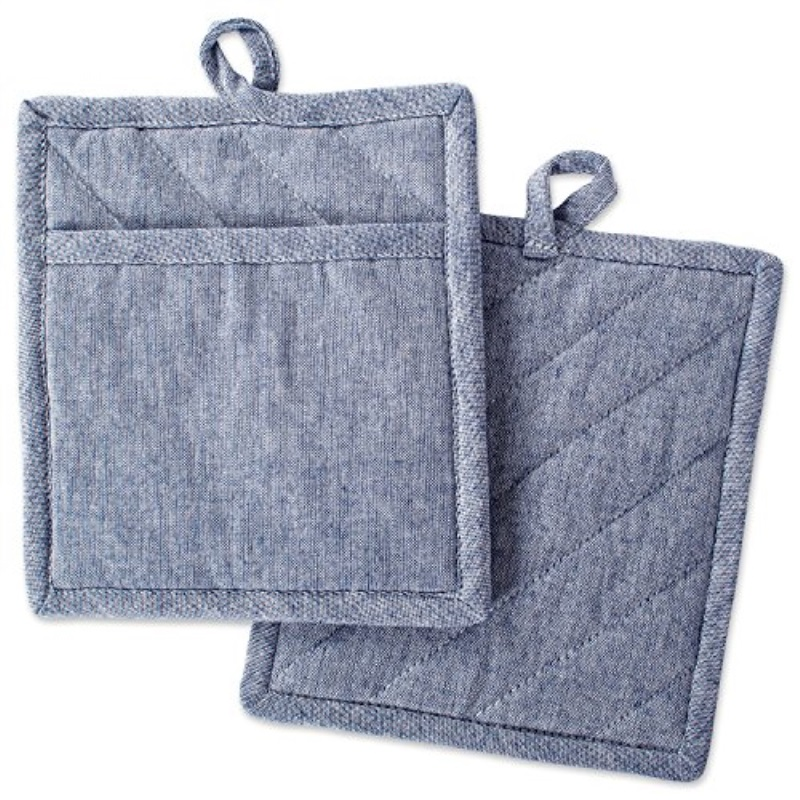 Design Imports Blue Solid Chambray Potholder Set of 2, Multiple Colors Available