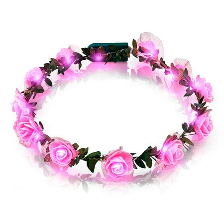 Light Up Pink Rose Flower Princess Halo Crown Headband (Flower Halo Headband)