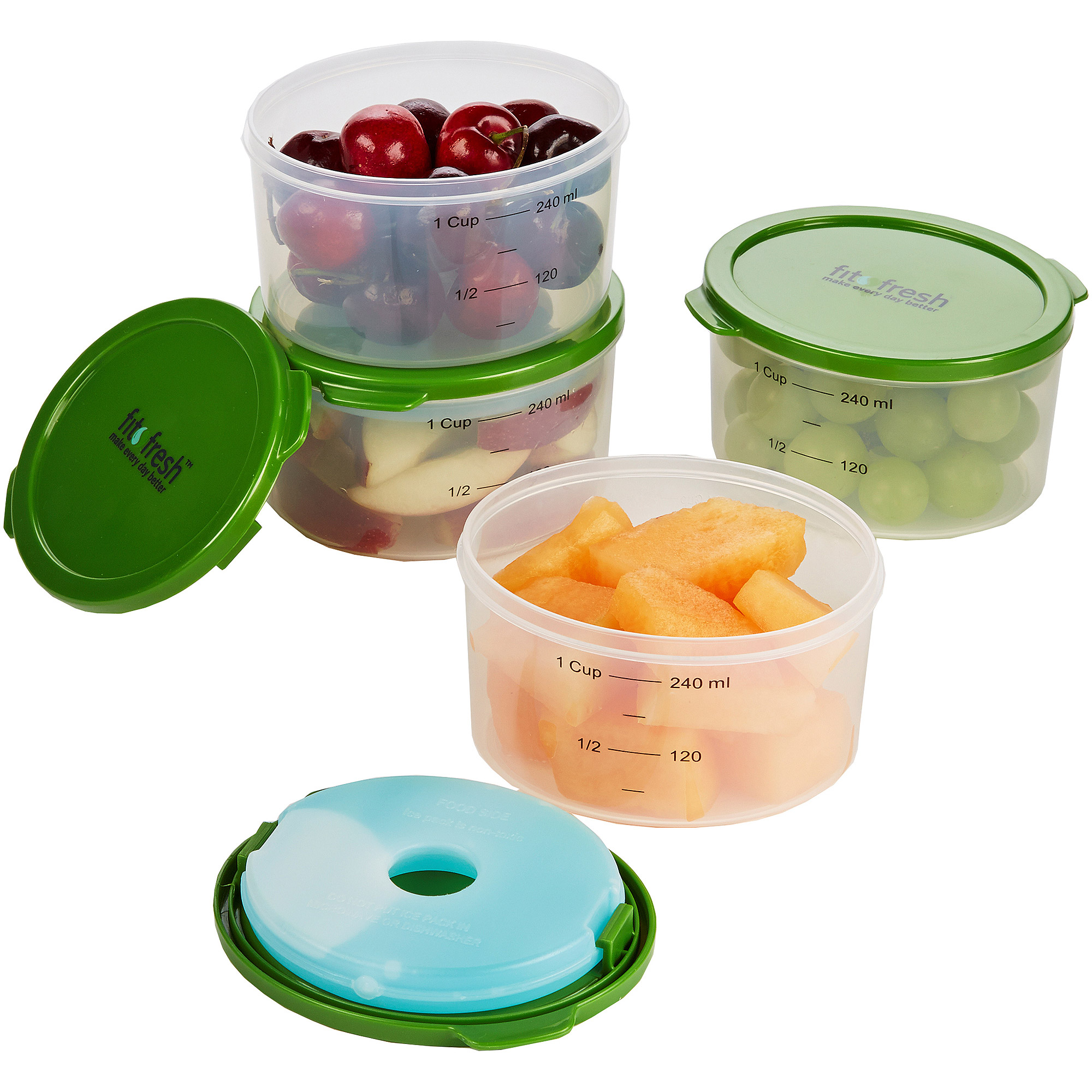 Fit and Fresh 4-Piece Smart Portion Chilled 1-Cup Container Set