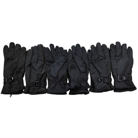 6 Pairs Of excell Mens Black Water Proof Winter Glove With Gripper -