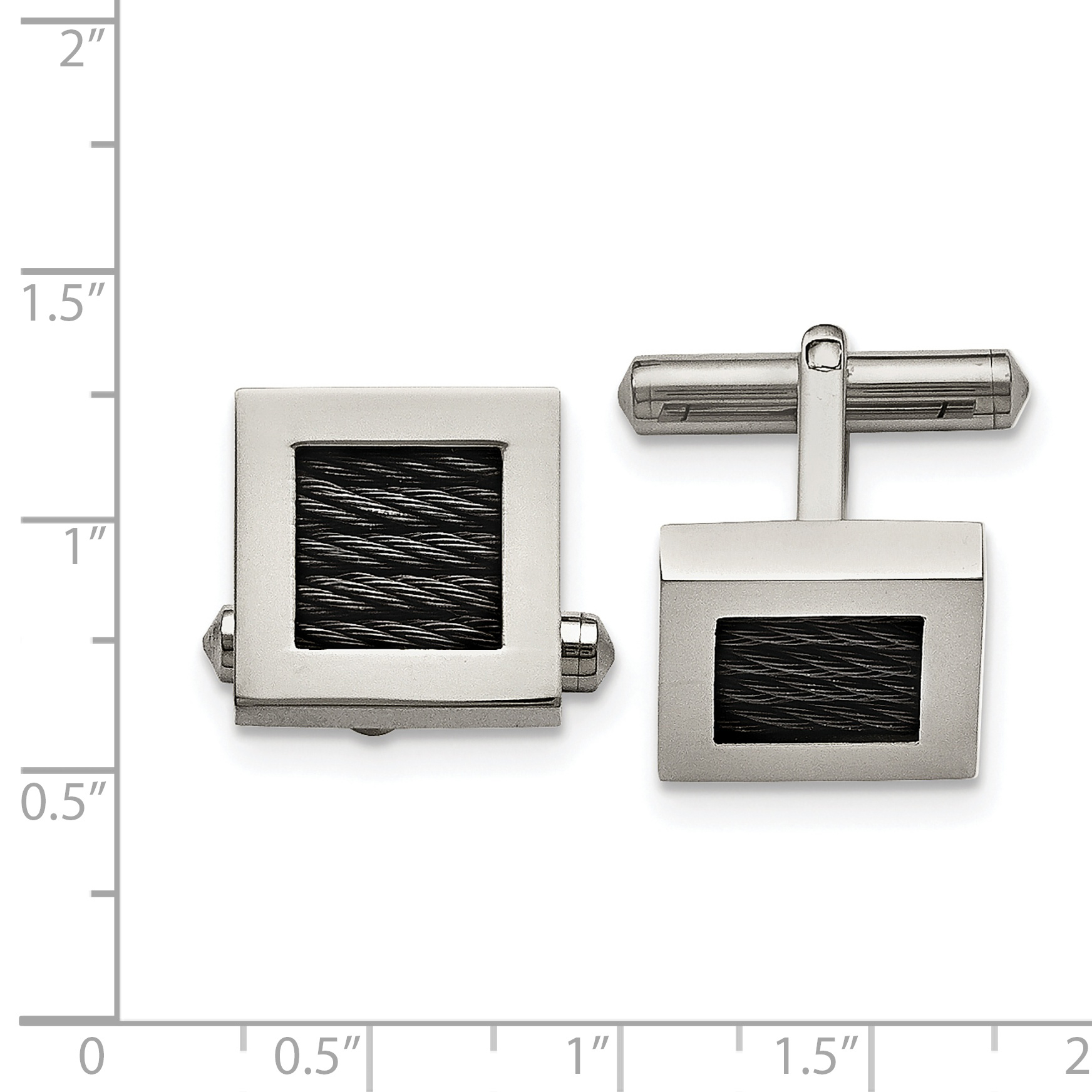 Titanium Polished Black IP-plated Wire Cuff Links - image 2 of 3