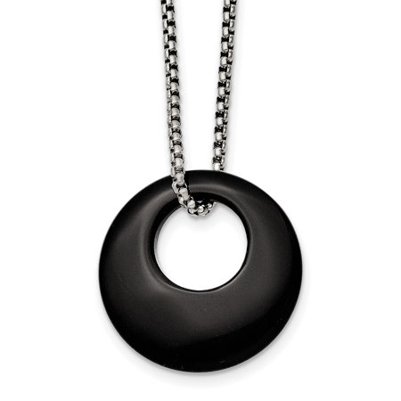 Circular Jewelry - Stainless Steel 18in Black Onyx Large Circular Polished Necklace