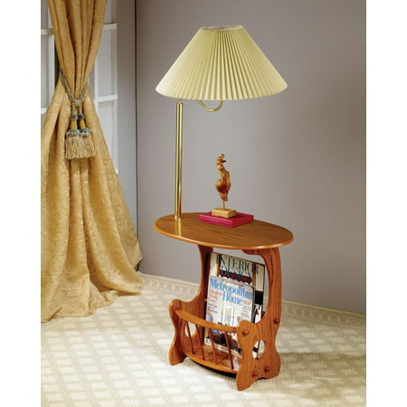 Coaster Furniture Warm Brown Lamp End Table with Magazine - Magazine Storage Table