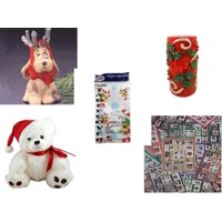 """Christmas Fun Gift Bundle [5 Piece] - Hallmark Reindoggy Ornament QX4527 -  Candle Holly Berry Pillar 3 x 6 - Party Expressions Plastic Table cover 54"""" x 108"""" Rectangle - White  Bear  9"""" by Steven S"""
